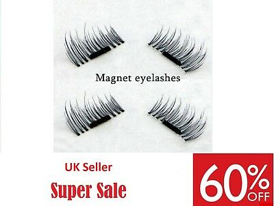 3D MAGNETIC Natural Thick Eye Lashes Extension Handmade 4 lashes/1 pair  UK Sell