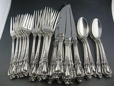 Sterling LUNT Flatware Set ELOQUENCE (6) 4pc place settings ~no mono