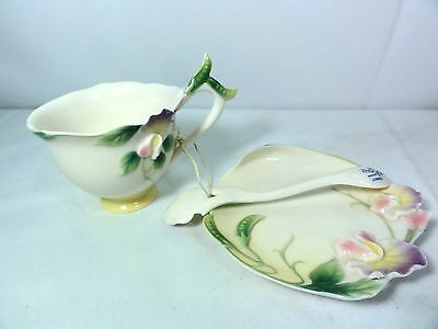 Franz Porcelain Floral Pattern Cup & Saucer With Spoon - Detailed Wonderfully