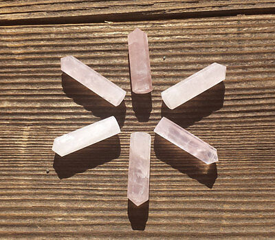 Natural Rose Quartz Single Terminated Gemstone Crystal Pencil Point (One)