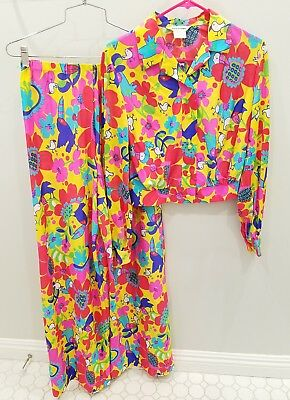 VTG Made in Hawaii palazzo pant 2 pc suit psychedelic jacket size s m 60s 70s