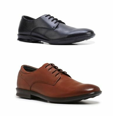 Mens Hush Puppies Cale Black Leather Comfort Lace Up Work Formal Men's Shoes