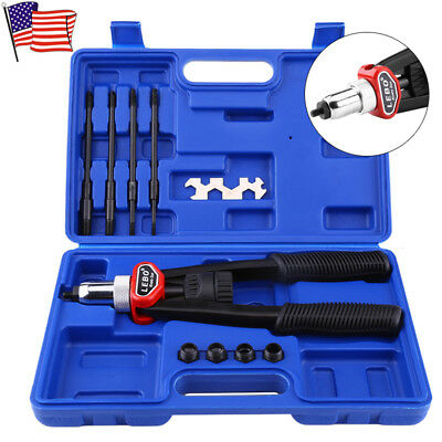 Hand Nut Rivet Kit Pneumatic Tool Riveter Gun Thread Mandrel Metal Heavy Duty US