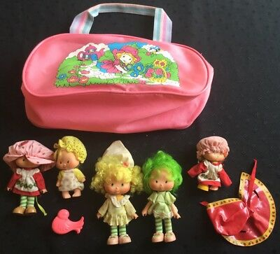 Vintage Strawberry Shortcake Lot - 1980s Lime Lemon Poncho Hairbrush Carry Case