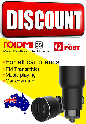 Roidmi Xiaomi 3S Bluetooth FM Transmitter Fast 2USB Car Charger  Music Player