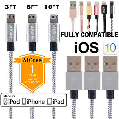 Certified Apple Lightning Cable 3FT 10FT MFi USB Charger fr iPhone 7 6 6s 8 Plus