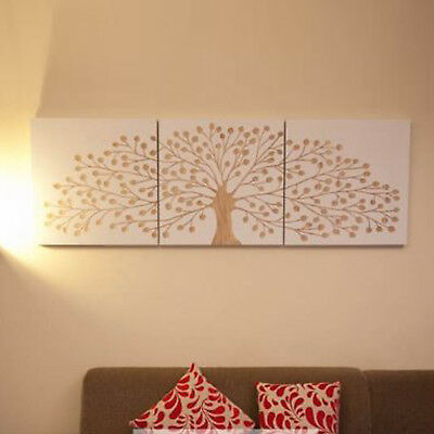 TREE OF LIFE WHITE Wooden Timber Hand Carved Wall Art Mangowood Print Triptych