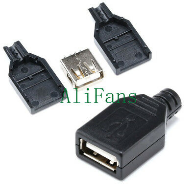 2Pcs USB2.0 Type-A Plug 4-pin female Adapter Connector jack&Black Plastic Cover