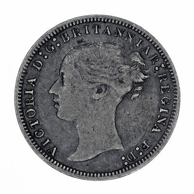 1877 Great Britain Threepence Silver 3 Pence Coin *FREE USA SHIPPING*