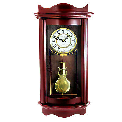 """Bedford ClockCollection Weathered Cherry Wood 25"""" Wall Clock W/t Pendulum New"""