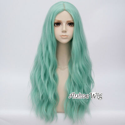 Women Mint 78cm Long Curly Party Heat Resistant Anime Cosplay Wig + Cap