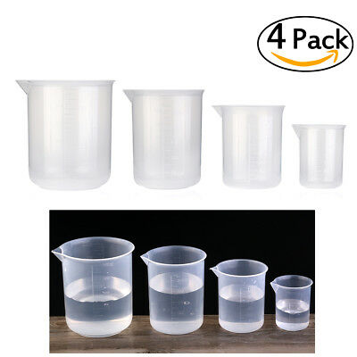 4pcs 50ml / 150ml / 250ml / 500ml Plastic Graduated Beakers Graduated Beakers