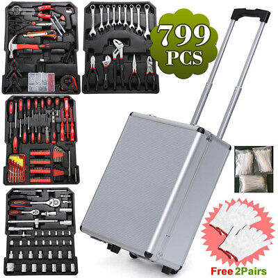 599pcs Tool Set Case Mechanics Kit Box Organize Castors Toolbox Trolley