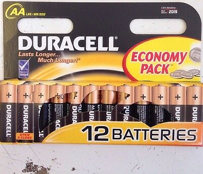 Pack 12 DURACELL AA Batteries MN1500 LR6 Alkaline Battery New