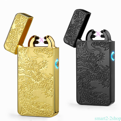 Windproof Electric Dual Arc Flameless Lighter USB Rechargeable Dragon Carved MQ5