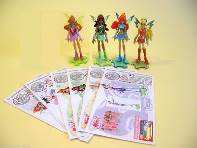 Kinder Ferrero Surprise 4 Figure Serie Winx Club Fairies Princess +1 Cartina Rar