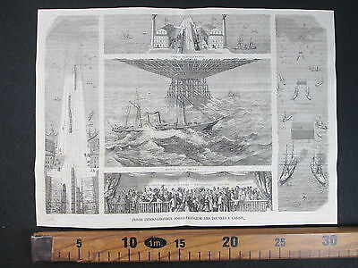 1869 Ponte Internazionale Anglo Francese Douvres Calais Nave Antica Stampa D373