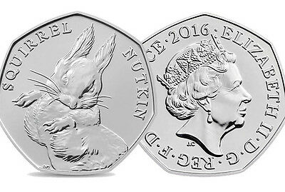 "**ALMOST UNCIRCULATED*** 2016 ""SQUIRREL NUTKIN"" Beatrix Potter 50p."