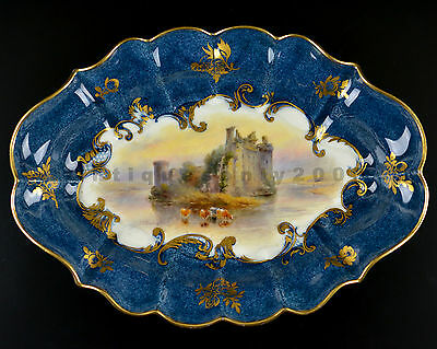Rare ROYAL WORCESTER Caerlaverock Castle with Cattle Painted Plate JOHN STINTON