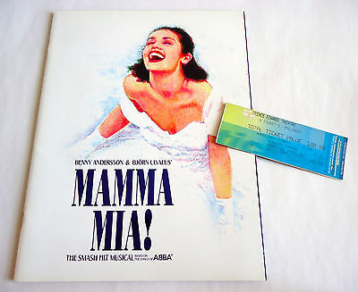 MAMMA MIA! MUSICAL SOUVENIR PROGRAM BOOK UK w/Ticket stab ABBA