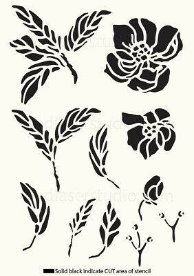 Peony Flower Stencil Vintage Template Home Paint Furniture Card making FL30