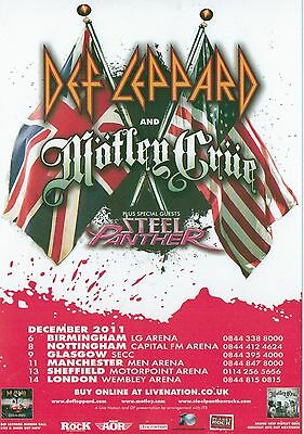 DEF LEPPARD/MOTLEY CRUE 2011 UK Tour Flyer/mini Poster 8X6 inches