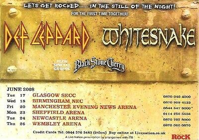 DEF LEPPARD/Whitesnake 2008 UK Tour Flyer/mini Poster 8X6 inches