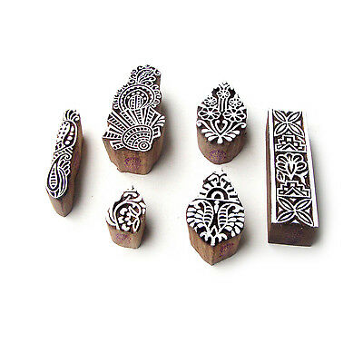 Leaf and Border Hand Crafted Pattern Wood Block Print Stamps (Set of 6)