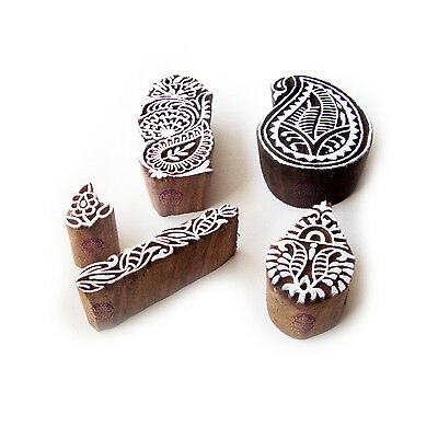 Paisley and Assorted Designer Pattern Wood Block Print Stamps (Set of 5)