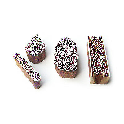 Assorted and Floral Handcrafted Pattern Wood Stamps for Printing (Set of 4)