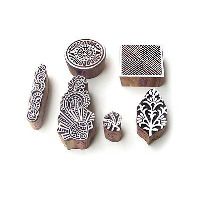 Flower and Square Indian Motif Wooden Stamps for Printing (Set of 6)