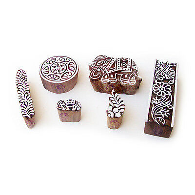 Elephant and Round Indian Pattern Wooden Blocks for Printing (Set of 6)