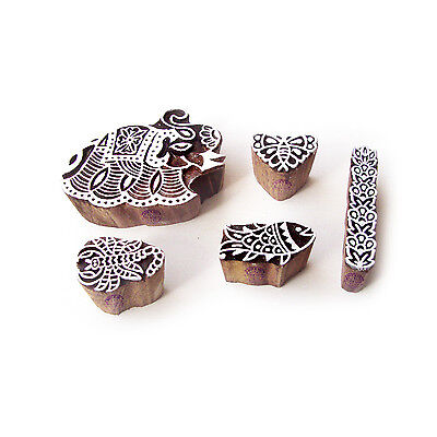 Elephant and Fish Traditional Pattern Wooden Blocks for Printing (Set of 5)