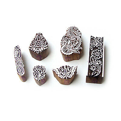 Butterfly and Flower Hand Crafted Pattern Wooden Blocks for Printing (Set of 6)