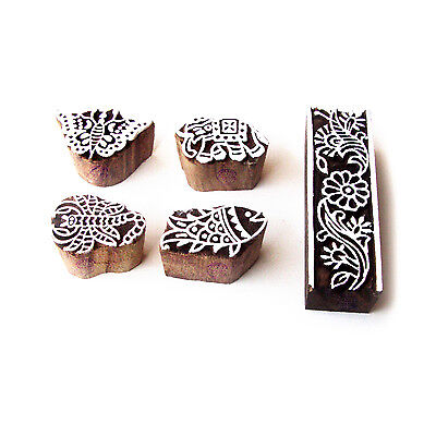 Animal and Border Handcrafted Designs Wooden Block Stamps (Set of 5)