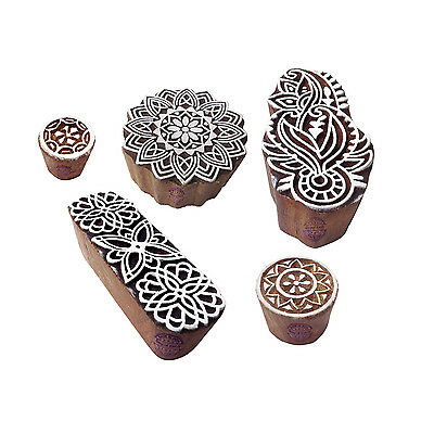 Ethnic Designs Mandala and Round Wooden Block Stamps (Set of 5)