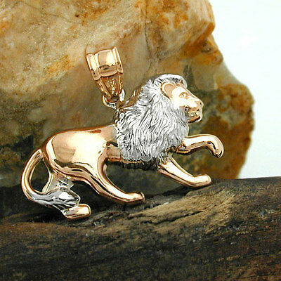 NEW 9K ROSE GOLD Lion Pendant / Charm with white gold accents (431226)