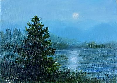 Moonlight Study # 2 - Framed 5X7 inch original oil skyscape painting on canvas