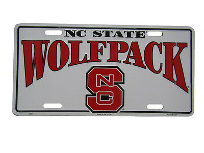 """North Carolina Wolfpack NCS State 6""""x12"""" Aluminum License Plate Tag"""