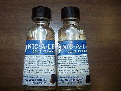 2 Glass 1/2 fl oz Bottles of NIC-A-LENE Coin Cleaner