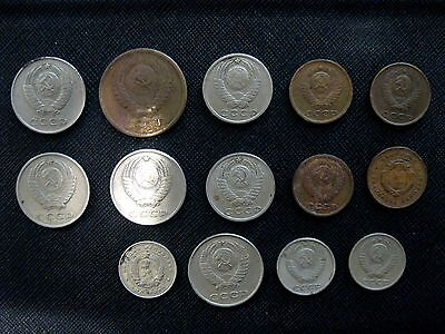 Set of 14 Old Soviet Union CCCP RUSSIAN Coin Lot - COLD WAR era Mixed Coins LOT