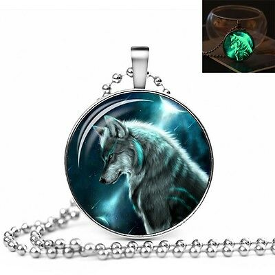 UK GLOW IN THE DARK WOLF LARGE PENDANT NECKLACE / Jewellery Gift Idea Luminous