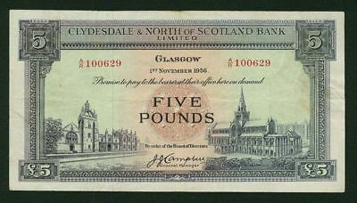 """Scotland Glasgow  1956  5 Pounds  """"clydesdale & North Of Scotland Bank"""" Banknote"""