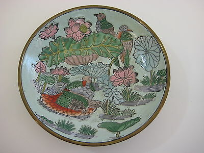 Vintage Chinese Hand Painted Porcelain Brass Encased Bowl w/Birds & Flowers, 7.5