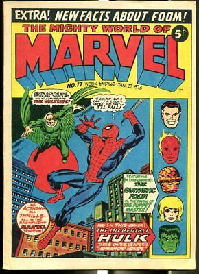 Mighty World Of Marvel #17 1973-Spider-Man-Hulk-Fantastic Four-Kirby-Uk Comic Fn