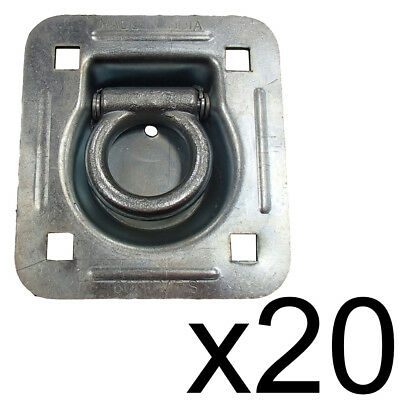 20 Flatbed Truck Cargo Trailer Strap Rope Chain Ring Tie Down Recessed D-Rings