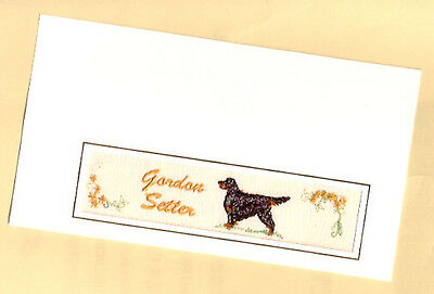 Gordon Setter Embroidered Bookmark Note Card Notecard from the UK Gold