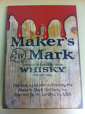 NEW Maker's Mark Wooden Sign with Wax Image (11x16)