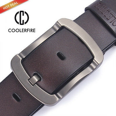 New Quality Men's Cowhide Leather Belt, Cool Metal Pin Buckle, Size 30-46
