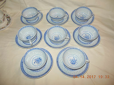 8 Chinese Porcelain Rice Grain Cups & Saucers Blue and white